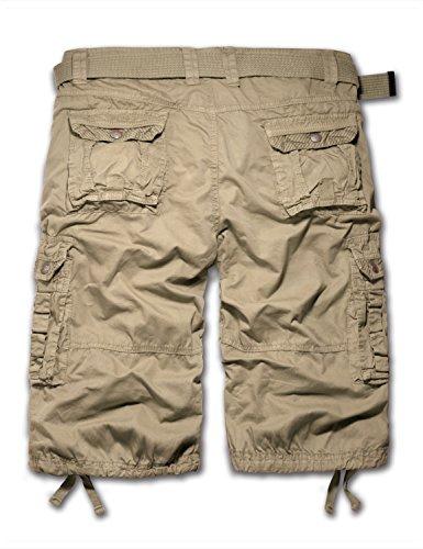 "URBANCREWS Mens Hipster Hip Hop 8 Pocket Stripes Cargo Shorts STONE 36"" WAIST"
