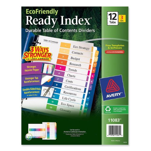 Avery EcoFriendly Ready Index Table of Contents Dividers, 12-Tab, 3 Sets (11083) (12 Tab Index)
