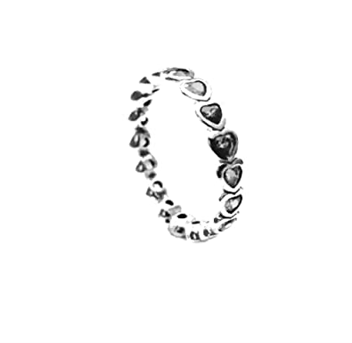 796b9f070 1 Sterling Silver Sparkling Hearts Stacking Ring,size 56, N, 8:  Amazon.co.uk: Jewellery