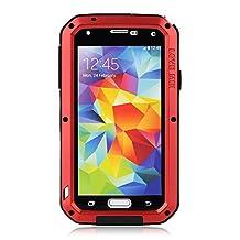 BB-YuHan Love MEI Samsung Galaxy S5 Case Aluminum,3-layer Corning Gorilla Glass Aluminum Metal Protective Samsung Galaxy S5 Case (Red)