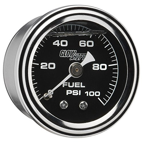(GlowShift Liquid Filled Mechanical 100 PSI Fuel Pressure Gauge - Black Dial - Waterproof - Installs Under the Hood - 1/8-27 NPT Thread - 1-1/2 (38mm) Diameter)