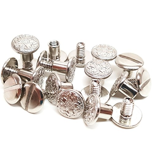 "Set of 10, 3/8"" Engraved Floral Chicago Screws Nickel Fastener"