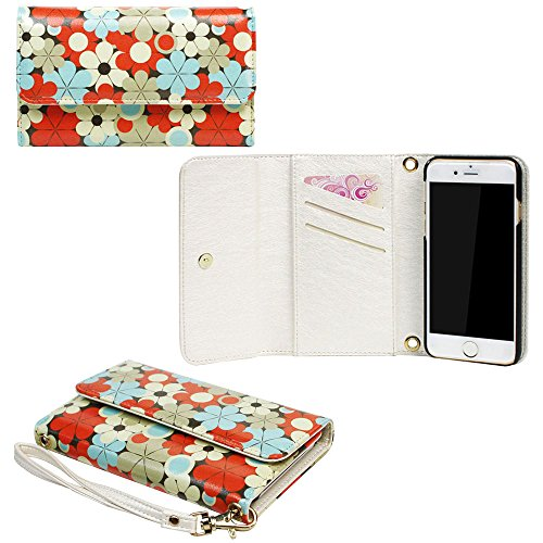 JAVOedge Orange / Blue 60s Daisy Print Clutch Wallet Case / Card Holder with Wristlet for the Apple iPhone 6 Plus (5.5