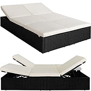 Double Sun lounger bed sunbed rattan waterproof cushion sunlounger 192x116cm