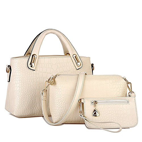 Satchel Leather VIASA Ladies Clutches Clutches Messenger For Work Leather Handbag Leather Women Beige Tote Hobo Wallet 3PC Bags Shoulder Purse Bag Professional Bag shopping 7pwpaSIr