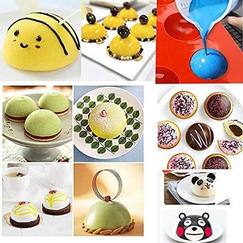 2 Pcs 6 Half Rebound Circle Round Medium Holes Silicone Mold For Chocolate, Cake,Desserts,Baking DIY,Cupcake Baking Pan kitchen Bakeware (2 pcs)