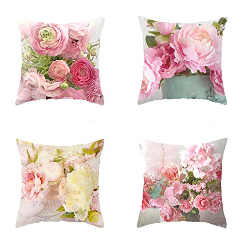 Heyhousenny Decorative Throw Pillow Covers,4 Packs Square Throw Pillow for Chair, Deco Indoor,18 x 18 inches (Red,Pink Flower)