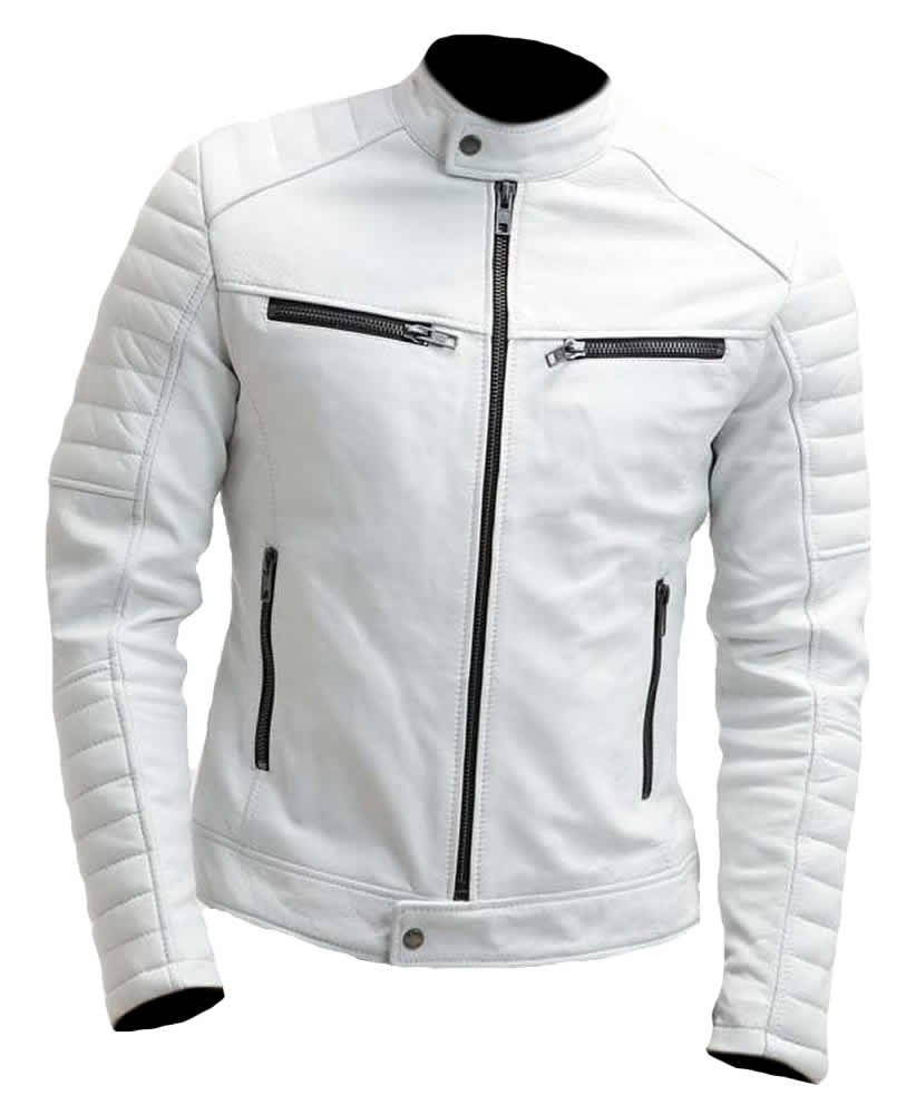 Sleekhides Men's Fashion Slimfit Real Leather Moto Jacket White 5X-Large