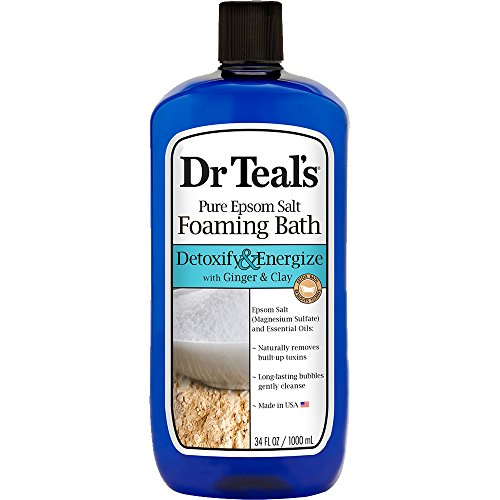Dr Teal's Foaming Bath with Pure Epsom Salt, Detoxify & Energize with Ginger & Clay, 34 Ounces (Best Epsom Salt Detox Bath)