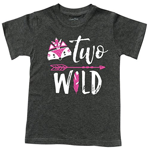 Feisty and Fabulous Girls Tee, Two Wild, Gift for 2 Yr Old, Gray Size 2 -