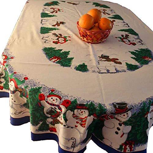 MZPRIDE Cute Snowman Christmas Tablecloth Pine Tree Christmas Table Cloths 60''84''-OVAL