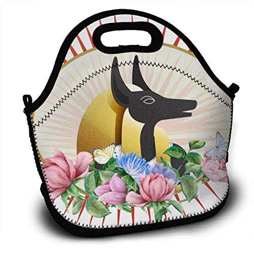 Jriar Qoylr Bling Bling Anubis God Anubis Soldier Lunch Tote Insulated Reusable Lunch Box Picnic Lunch Bags for Men Women Adults Kids ()