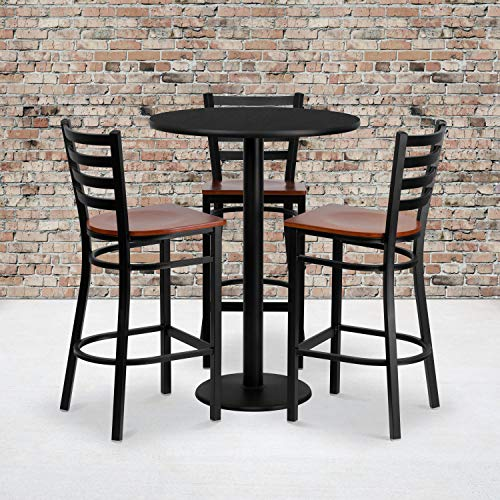 Flash Furniture 30'' Round Black Laminate Table Set with 3 Ladder Back Metal Barstools - Cherry Wood Seat (Chairs Pub Sale Table)