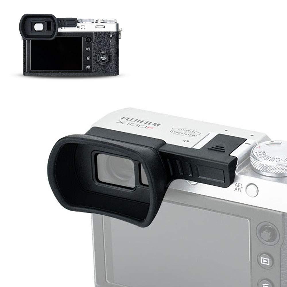 Soft Silicone Eyecup Eyepiece Eyeshade for Fuji Fujifilm X100F Viewfinder Eye Cup Protector Installed via Hot Shoe Soft Silicone -Black