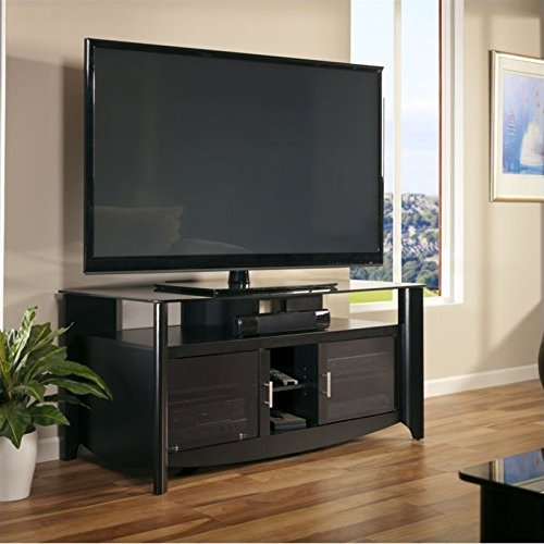Bush Furniture Glass Tv Stand (Bush Furniture Aero 56 Inch TV Stand in Classic Black)