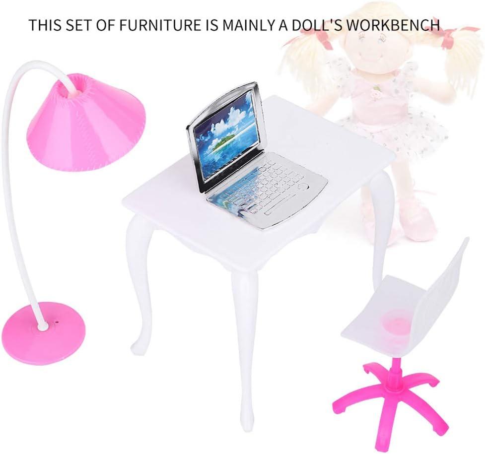 royalr Doll Play casa de mu/ñecas en Miniatura l/ámpara de Escritorio del Ordenador port/átil Muebles de Oficina Accesorios para sillas de Color al Azar