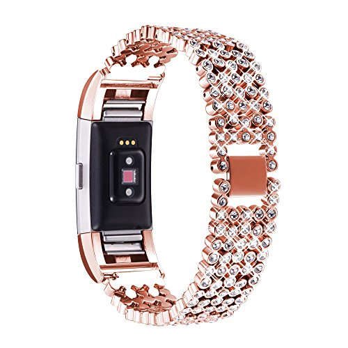 Bandmax Compatible Fitbit Charge 2 Bands Metal,Adjustable Zinc Alloy Replacement Bands/Accessories/Straps with Folding Clasp Clear 5PCS Rhinestone Bracelet Rose Gold