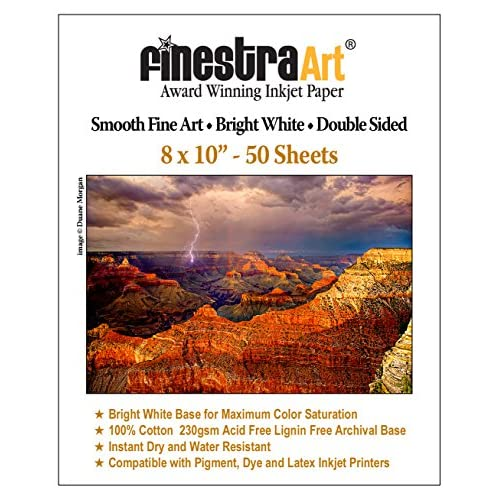 8x10 230gsm Smooth Fine Art Bright White Double Sided 50 Sheets free shipping 6k4l6JrN