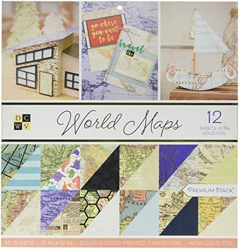DCWV PS-002-00023 World Maps Paper Stack, Multicolor