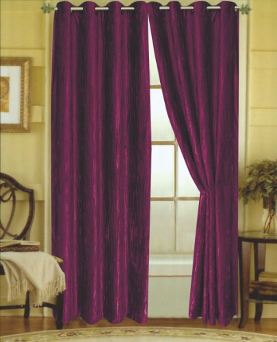 Editex Home Textiles Susane Crushed Velvet Curtain Panel with Grommet, Purple, Set of 2 ()