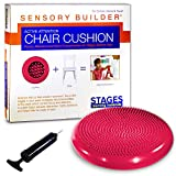 Stages Learning Sensory Builder Active Attention Chair Cushion for Wiggly Bottom Kids Seat, Red, 13' x 2.5