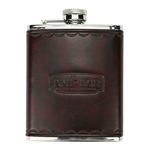 Tourbon Hunting Vintage Leather and Stainless Steel Hip Flask 6OZ by TOURBON