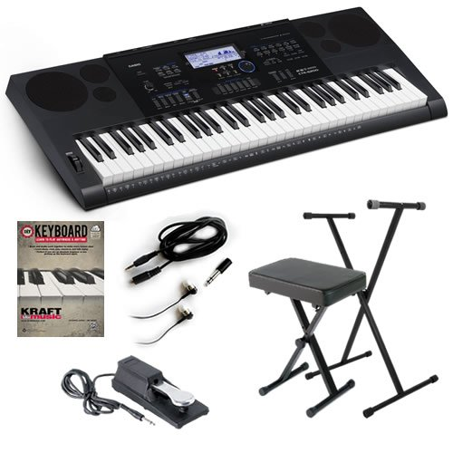 Casio CTK-6200 Portable Keyboard BONUS PAK w/ Pair of Earbud