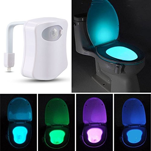 Closestool Night Light Human Body Auto Motion Activated Sensor Motion Home Bathroom Toilet Bowl Light Lamp 8-Color (Motion Detectors Collection)