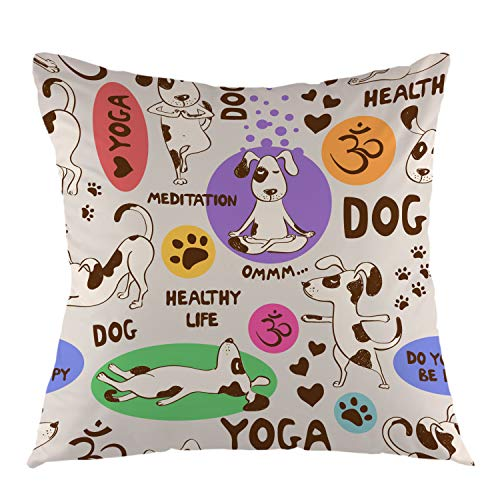 oFloral Cartoon Dog Decorative Throw Pillow Cover Doing Yoga Position Pillow Case Square Cushion Cover for Sofa Couch Home Car Bedroom Living Room Decor 18