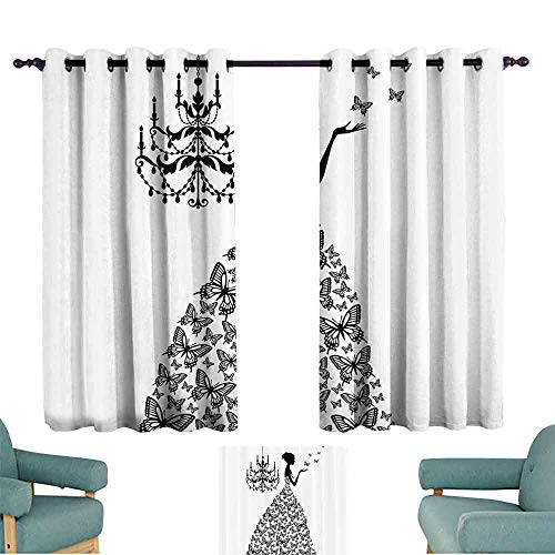 DILITECK Bedroom Curtains 2 Panel Fabric Collection Light Blocking Drapes with Liner W55 xL39 Butterflies Chandelier Princess Wedding Gown ()