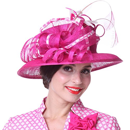 Kueenig Women Hats Feather Fashion Lady Party Wedding Dress Wear Sinamay Hats