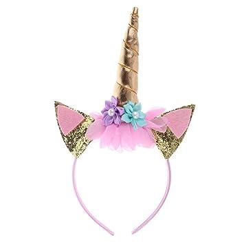 GzHQ Diadema Unicornio Rosa Cuerno de Oro para niñas ...