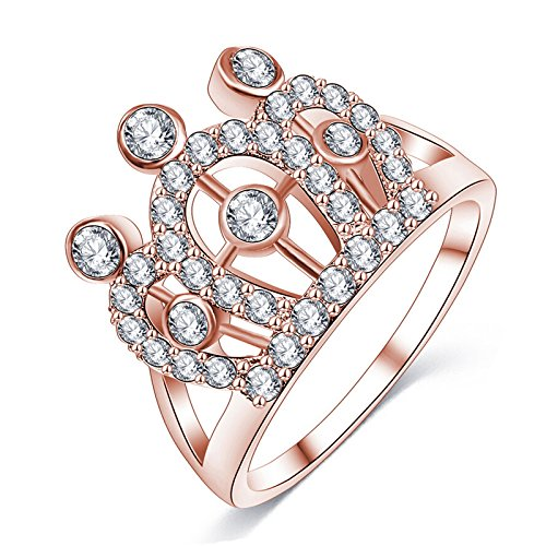 AMDXD Jewelry Rose Gold Plated Anniversary Rings for Women Crown Crystal Hollow Rose Gold Ring Size 8
