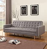 Mid-Century Modern Two Tone Vintage Linen Sleeper Futon Sofa, Grey, Beige, Red (Light Grey)