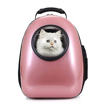 Petcomer Mochila Cápsula Impermeable Transportín en Forma de Burbuja para Mascotas Perros Gatos (Oro de