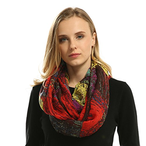(Lo Shokim Womens Mixed Color Artistic Oil Print Infinity Scarf-71