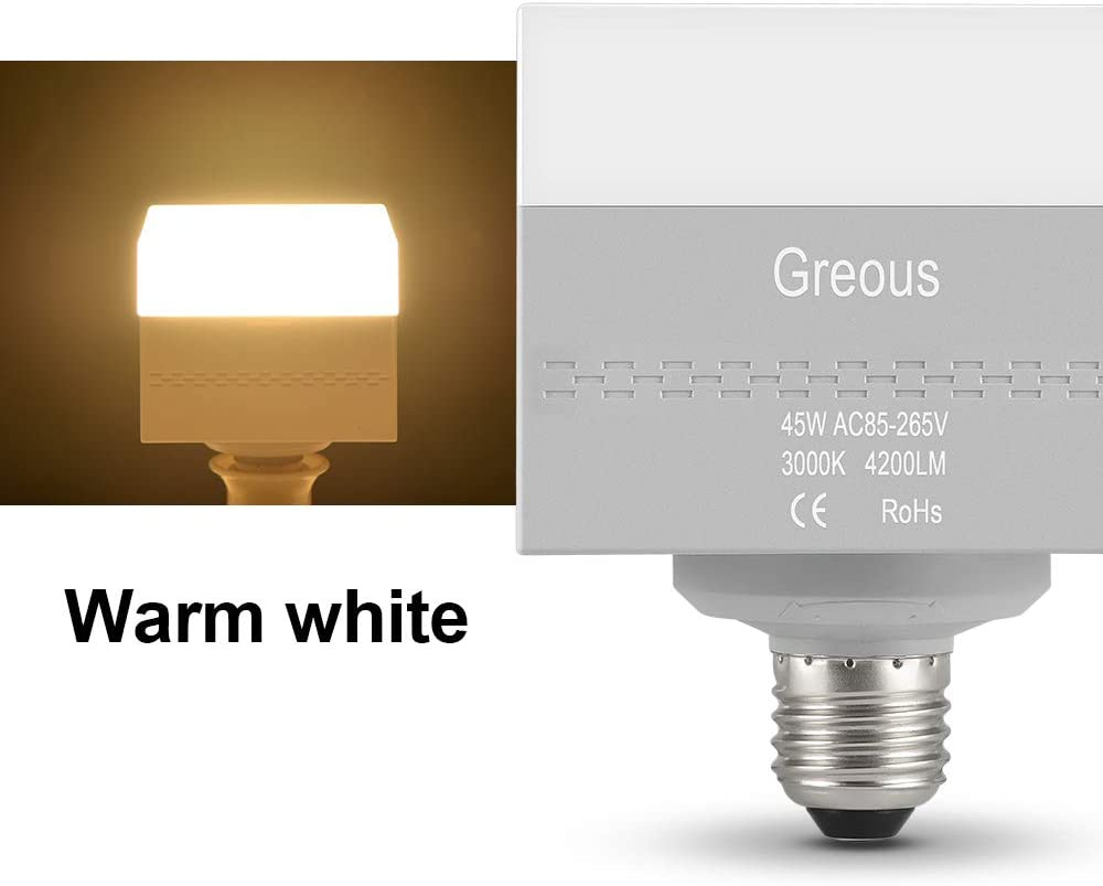 Greous 250-300Watt Equivalent,Soft Warm White 3000K Bedroom Canteen Decoration Lighting for Living Room Home Lighting LED Square Light Bulbs Bar 4200 Lumens,Efficient 45W Shopping Mall