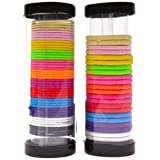 SHANY 72Pc Pony Tail Holders, Assorted Hair Elastic, Assorted Colors and Sizes, Pack of 2