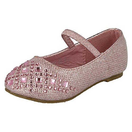 Spot On ,  Mädchen Durchgängies Plateau Sandalen mit Keilabsatz pink, glitter