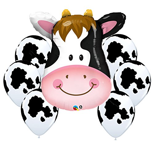 American Balloon Company Cow Balloon Bouquet Cow Theme Balloons (Cow Girl Theme)