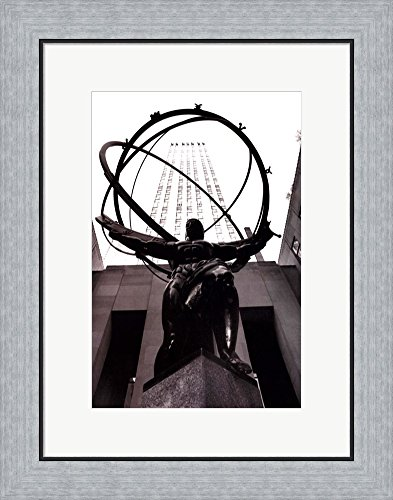 Atlas at Rockefeller Center by Laura Denardo Framed Art Print Wall Picture, Flat Silver Frame, 18 x 23 inches (Artwork Rockefeller Center)