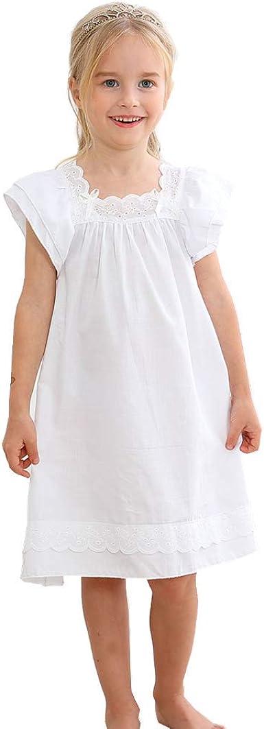 Niña Manga Larga Pijama de Algodón de Vestido de Noche Camisones para Niñas Blanco,90-150 Cm