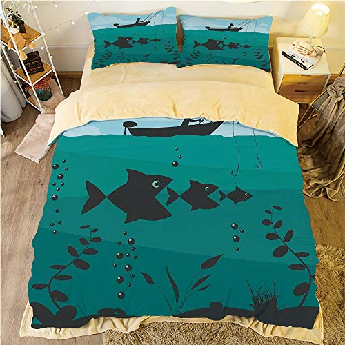 Comfortable Bed Sheet Set with Bedding Pillow Case Cover for bed width 6ft Pattern Customized bedding for boys and young children,Fishing Decor,Single Man in Boat Luring with Bobbins Nautical Marine S -