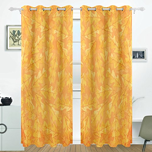 JSTEL Autumn Oak Leaves Curtains Drapes Panels Darkening Blackout Grommet Room Divider for Patio Window Sliding Glass Door 55x84 Inches,Set of 2 (Patio Doors Sliding Oak)