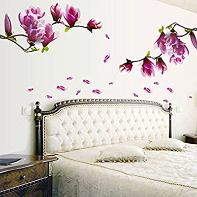 Pocciol Wall Stickers, Wall Stickers Lovely, Fresh Magnolia Flower Wall Sticker Decal Removable PVC Wall Sticker Home Bedroom Decor