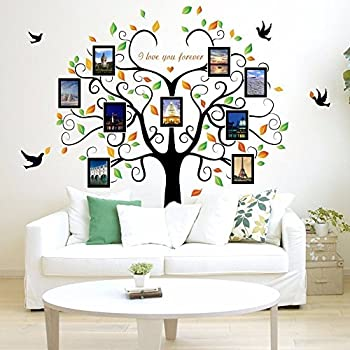 Family Tree Wall Decal 9 Large Photo Pictures Frames. Peel And Stick Wall  Decal, Best Removable Wall Decals For Living Room, Bedroom, Kids Rooms  Mural Decor ...