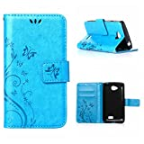 MOONCASE LG F60 Wallet Case Flower Pattern Premium PU Leather Case for LG F60 Bookstyle Soft TPU [Shock Absorbent] Flip Bracket Cover Blue