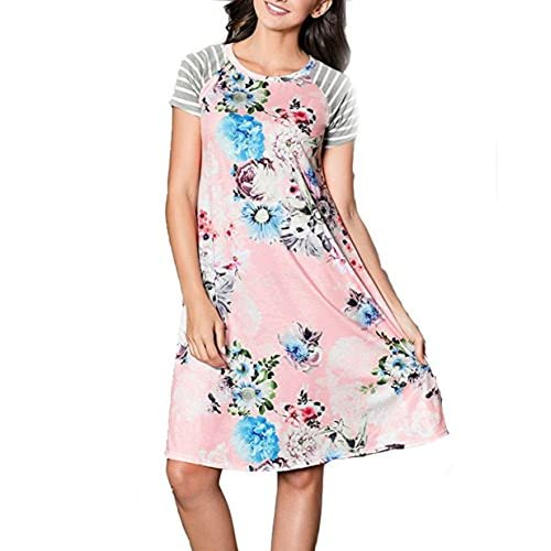 a9c253b9ed NuoReel Women s Floral Print Casual Short Sleeve A-line Loose T-Shirt  Dresses Knee