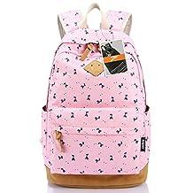 Leaper Lightweight Canvas Laptop Backpack Cute School Bags Deer Pink