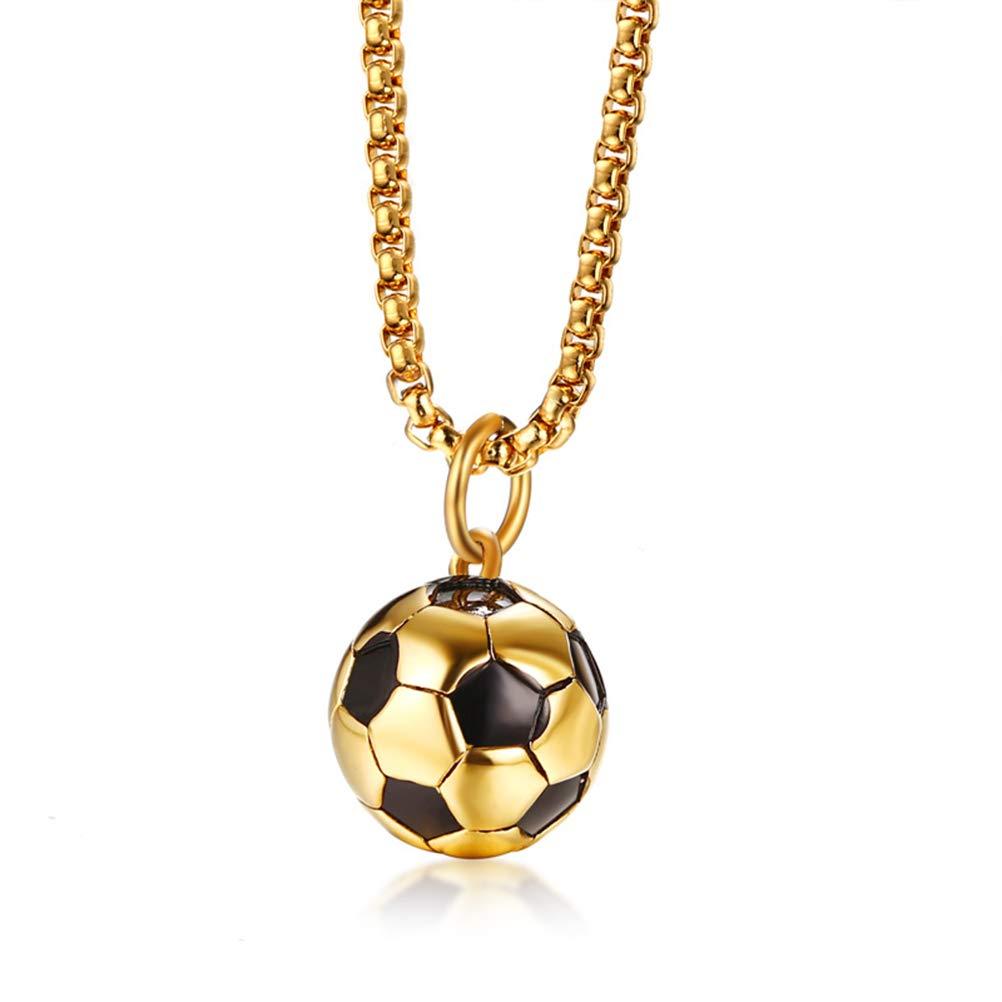 Cupimatch Collier Cha/îne Pendentif Ballon Football Mondial Acier Inoxydable Homme Couleur au Choix